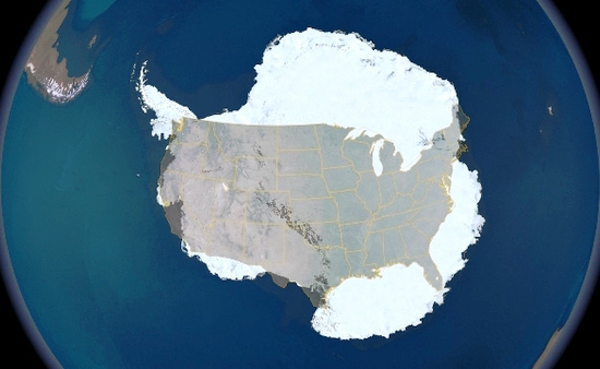 True Size Of Antartica