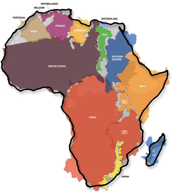 Map of Africa with other continents fitting in it